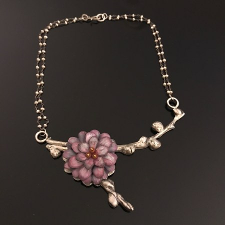 Handcrafted Purple Flower Necklace on Sterling Vine | Handcrafted | Remagine Designs
