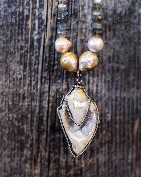 Druzy Fossil Pendant | Pearl | Labradorite | Handmade Necklace | Diamond | Remagine Designs